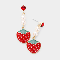 Pearl Enamel Strawberry Drop Earrings