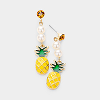 Pearl Enamel Pineapple Drop Earrings