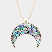 Crescent Moon Abalone Pendant Long Necklace