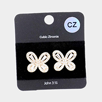 CZ Cubic Zirconia Flower Stud Earrings