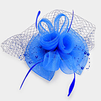 Embellished Mesh Floral Feather Fascinator  / Headband