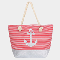 Stripe Anchor Print Rope Handle Beach Bag
