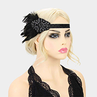 Beaded Feather Gatsby Glitter Headpiece Headband
