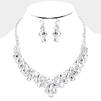 Pear Crystal Round Rhinestone Collar Evening Necklace