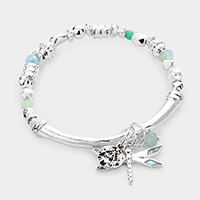 Dragonfly Charm Multi Bead Stretch Bracelet