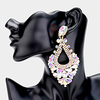 Pear Crystal Rhinestone Pageant Evening Earrings