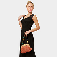 Bead Handle Solid Evening Bag