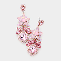 Floral Crystal Rhinestone Evening Drop Earrings