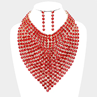 Crystal Rhinestone Statement Bib Evening Necklace