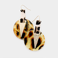 Leopard Pattern Print Triangle Metal Earrings