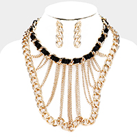 Metal Chain Bib Necklace