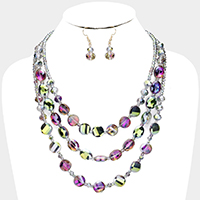 Multi Strand Crystal Bead Layered Necklace