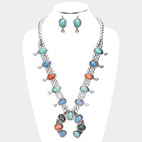 Glitter Large Squash Blossom Tribal Necklace