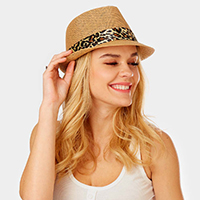 Animal Print Band Summer Straw Fedora Hat