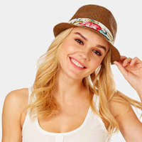 Tropical Leaves Print Band Summer Straw Fedora Hat