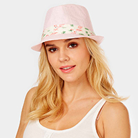 Flamingo Print Band Summer Straw Fedora Hat