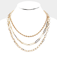 Metal Chain Link Layered Collar Necklace