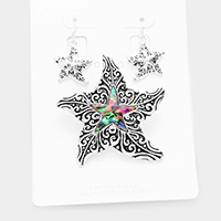 Embossed Metal Abalone Starfish Magnetic Pendant Set