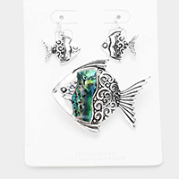 Embossed Metal Abalone Fish Magnetic Pendant Set