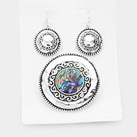 Embossed Metal Abalone Round Magnetic Pendant Set