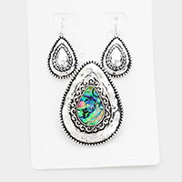 Embossed Metal Abalone Teardrop Magnetic Pendant Set