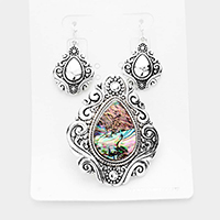 Embossed Metal Abalone Antique Magnetic Pendant Set