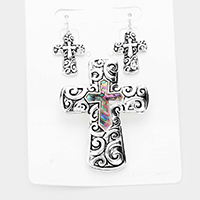 Embossed Metal Abalone Cross Magnetic Pendant Set
