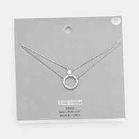 Brass Metal Cubic Zirconia Open Circle Pendant Layered Necklace
