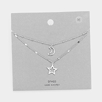 Brass Metal Star and Moon Pendant Layered Necklace