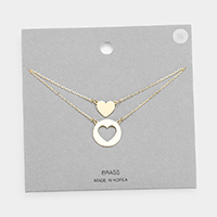 Brass Metal Heart Pendant Layered Necklace