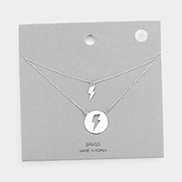 Brass Metal Lightning Bolt Pendant Layered Necklace
