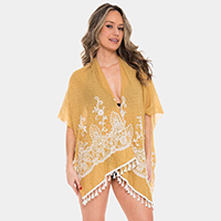 Embroidered Floral Pattern Tassel Cover-up Cardigan Poncho
