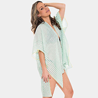 Stripe Pattern Edge Cover-up Cardigan Poncho