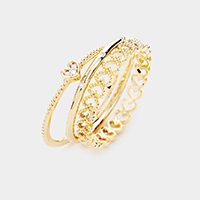 3PCS - Heart CZ Cubic Zirconia Brass Metal Layered Rings