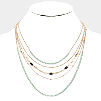 Multi Strand Layered Faceted Bead Necklace