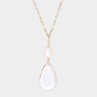 Crystal Pendant Pearl Faceted Bead Long Necklace