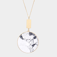 Semi Precious Round Pendant Long Necklace