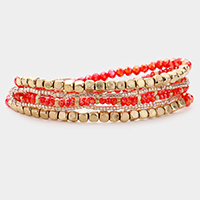 6PCS - Gold Metal and Crystal Bead Layered Stretch Bracelets