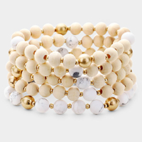 5PCS - Semi Precious Wood Beaded Stretch Layered Bracelets