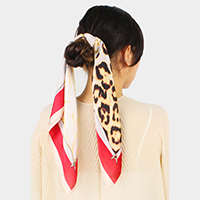 Animal Print Satin Scarf