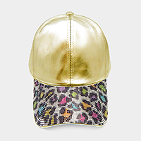 Colorful Leopard Rhinestone Baseball Cab