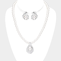 Rhinestone Pave Teardrop Pearl Beaded Collar Necklace