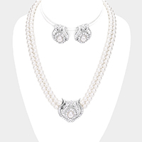 Rhinestone Pave Pearl Beaded Collar Necklace