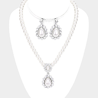 Rhinestone Pave Floral Teardrop Pearl Beaded Collar Necklace