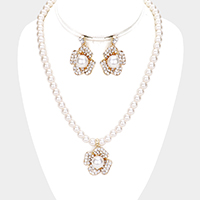 Floral Pearl Rhinestone Pave Collar Necklace