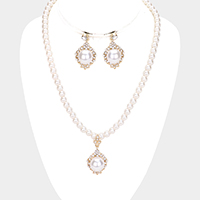 Pearl Rhinestone Pave Collar Necklace