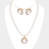 Rosette Pearl Rhinestone Pave Collar Necklace