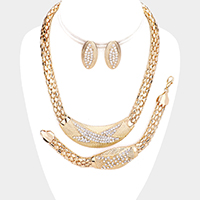 3PCS - Crystal Rhinestone Snake Chain Necklace Jewelry Set