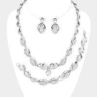3PCS - Crystal Rhinestone Accented Marquise Necklace Jewelry Set
