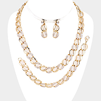3PCS - Crystal Rhinestone Pave Metal Link Necklace Jewelry Set